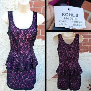 Juniors KOHL'S black pink lace peplum dress SMALL